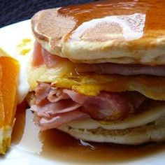 Ingredients: cooking spray1 egg1 slice ham2 leftover buttermilk pancakes1 slice Cheddar cheese2 tablespoons maple syrup