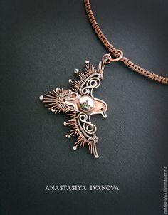 "Кулон ""Птица"",медь, серебро, жемчуг / Copper, silver pendant wire wrapped Bird"
