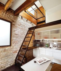 loft with stairs.