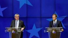 European Commission President Jean-Claude Juncker and European Council President Donald Tusk (R) address a joint news conference on the second day of the EU Summit in Brussels, Belgium, June 2016