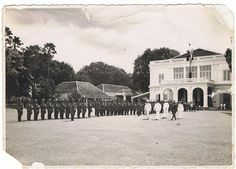 Koninklijke Nederlandsch-Indisch Leger (KNIL) inspection in front of De Vredestein (1947). During the Indonesian Revolution, the building functioned as the Headquarters of Tijgers Brigade of KNIL.
