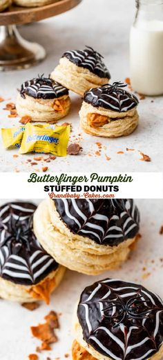 Decadent puff-pastry donuts stuffed with a pumpkin Butterfinger® cream filling and topped with a sweet chocolate glaze! These are fluffy and buttery with bursts of crisp, peanut-buttery candy pieces! #donut #cronuts #pumpkin #doughnut #puffpastry Donut Recipes, Baking Recipes, Dessert Recipes, Pumpkin Recipes, Fall Recipes, Yummy Recipes, Holiday Recipes, Quick Easy Desserts, Delicious Desserts