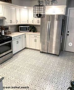 Kitchen Remodel On A Budget DIY Kitchen tile floor ideas on a budget using easy to use tile stencil patterns from Cutting Edge Stencils - Kitchen Tile Diy, Kitchen Paint, Rustic Kitchen, Kitchen Backsplash, Kitchen Decor, Kitchen Cabinets, Tile Floor Kitchen, Kitchen Floor Tile Patterns, Painted Kitchen Floors