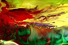 Colorful Painting - Abstract Art Colorful Fluid Painting Green Cave By Kredart by Serg Wiaderny