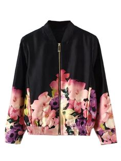 Shop Black Floral Long Sleeve Bomber Jacket from choies.com .Free shipping Worldwide.$38.99