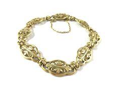 Bracelet ancien époque 1900 en or jaune 18cts a maille filigranée en vente sur www.BijouxAnciens.Paris