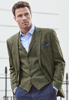 Men's Vintage Style Suits, Classic Suits Young Tailored Fit Wool Check Jacket £300.00 AT vintagedancer.com