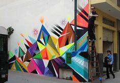 I love checking out local street art. My Life At Arnold's: Street Art Education Matt W. Graffiti Art, Wall Paint Patterns, Painting Patterns, Urbane Kunst, Geometric Wall, Geometric Graphic, Geometric Shapes, Art Mural, Art Design