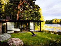 """archatlas: """" Lundnäs House The Lundnäs House is the architect's, Delin Arkitektkontor, summer house. It is located in Hälsingland, Sweden, and is built in the granite foundation from a turn of the century ceramic stove factory. Cottage Design, House Design, Swedish Interiors, Haus Am See, Interiors Magazine, Swedish House, Architect House, Green Life, Architecture Design"""
