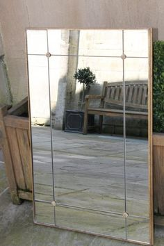 Bright Mirror Border Panel with gilded wooden frame and studs. Other frame options available. Bronze,Brass, Copper, Black Iron or one of our extensive range of wooden frames. Mirror Border, Traditional Mirrors, Convex Mirror, Wooden Frames, Bespoke, Bath, Bright, Glass