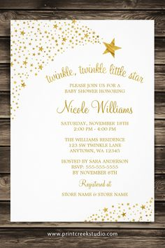 White and gold twinkle twinkle little star baby shower invitations.