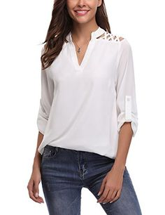 Style Dome Chemise Femme Chic Blanche Longue Tunique Femme Grande Taille Shirt Femme Longue Manche Longue,Blanc,M