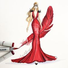 """A masquerading cardinal, sketched with @copicmarker #fashiondesign #fashionart…"