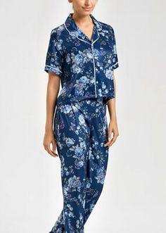 Talia Maskülen Pijama Takımı - LACİVERT BASKILI Bloom Coffee, Dark Flowers, Mavis, Wrap Dress, Jumpsuit, Model, Vintage, Dresses, Fashion