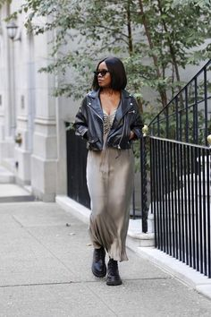 And just like that she realized..she is everything, she ever needed... . . . #selfrealization #revelation #spiritualgrowth #alwaysevolving . . PC: @wildnyc Leather Jacket Outfits, And Just Like That, Street Style Looks, Oprah, Moto Jacket, Lifestyle Blog, Normcore, Style Inspiration, Pearls