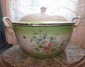 Enamelware soup tureen France , BIG antique French enamel w floral design w roses, RARE French country cottage shabby chic kitchenware