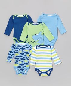 Take+a+look+at+the+Peanut+Buttons+Blue+&+Green+Shark+Bodysuit+Set+-+Infant+on+#zulily+today!