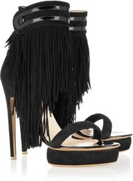 Fringed suede sandals by Nicholas Kirkwood Suede Sandals, Black Sandals, Black Shoes, Fringe Sandals, Suede Shoes, Shoes Heels, Fab Shoes, Me Too Shoes, Heeled Boots