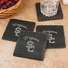 USC Trojans slate coasters