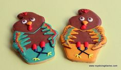 Goofy looking turkeys made from an ice cream cone cookie cutter  www.royalicingdiaries.com