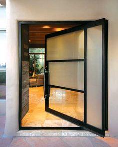 images of pivot front doors   Pivot Door Steel Architect Series Custom 4 Lite with Handle M-10 and ...
