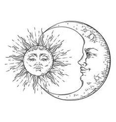 Antique hand drawn art sun and crescent moon vector Sun And Moon Drawings, Sun Drawing, Occult Symbols, Masonic Symbols, Tattoo Sonne Mond, Tattoo Drawings, Art Drawings, Moon Sun Tattoo, Tattoo Bein