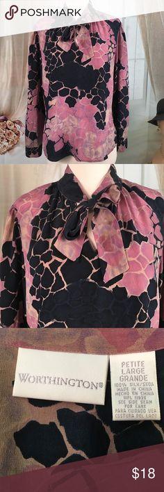 """Worthington 100% Silk Batik Blouse Today, featuring in Kaki Jo's closet is this stunning 100% silk batik blouse.  It's a pull over and has a tie at the neck.  Absolutely beautiful! New condition.  Size PL.  Bust is 42 and length is 23"""". Worthington Tops Blouses"""