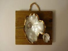 Oyster on wood plaque 5.5 X 5.5 oyster on wood by knicksandknakcs