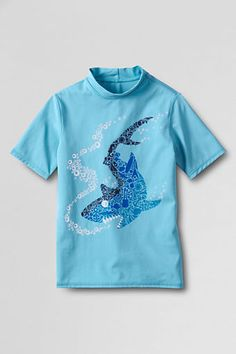 Summer 2014 – My daughter will be wearing this shark rash guard all summer!  She prefers sharks over seahorses and glittery fish adorned with hearts (which are the choices in the girls department), so we're raiding the boys department!   From Lands' End, sizes 2T-20.