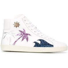 Saint Laurent 'Court Classic' hi-top sneakers (€615) ❤ liked on Polyvore featuring shoes, sneakers, white, white shoes, glitter sneakers, glitter high top sneakers, white flat shoes and white high tops