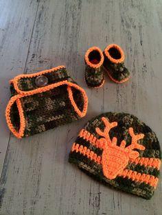Newborn Crochet Camo Hat Diaper Cover and by SweetTandHoneyBees