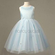Blue Princess Sparkle Flower Girl Dress