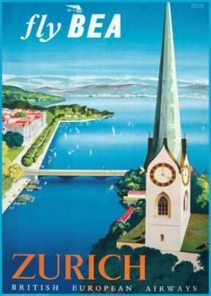 Fly British European Airways to Zurich Poster by Daphne Padden at AllPosters.com