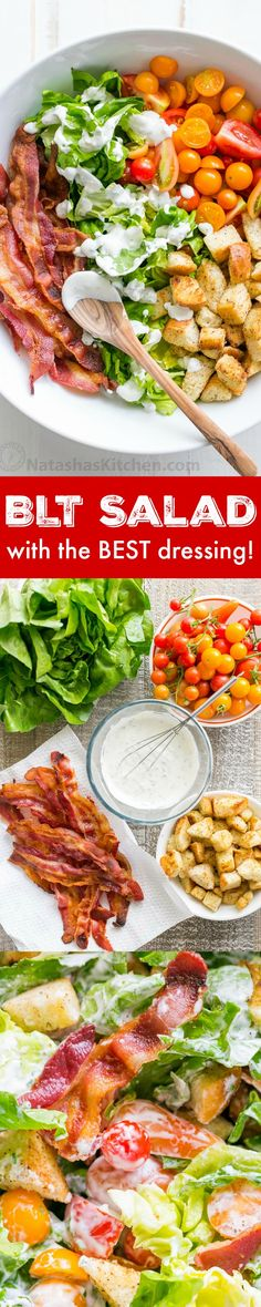 A BLT Salad loaded with fresh lettuce, crispy bacon, bright tomatoes, crunchy…