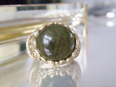 HUGE Rarities Sterling Silver w Matte Gold Labradorite STATEMENT Ring Size 9 #CarolBrodie #Cocktail