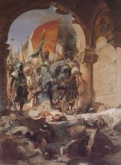 Mehmed ll entering Constantinople, after a long  siege from April 06 - May 29,1453 (53 days).