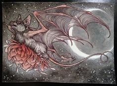 "a little bat commission that I drew for the talented Sophie Reaptress, 5"" by 7"", ballpoint pen, watercolor and colored pencil on cold press watercolor paper. CAITLIN HACKETT ART"