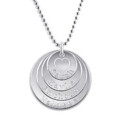 Personalized Round Stackable Family Pendant in Sterling Silver (4 Names)