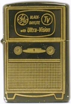 Rare 1953 black enamel TV-looking Zippo advertising GE's Black Daylite TV with Ultra-Vision Cool Lighters, Zippo Lighter, Black Enamel, Cigar, Old And New, Advertising, Outdoors, Cases, Cool Stuff