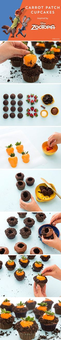 Be a Carrot Farmer in Zootopia's Bunny Burrow with these CARROT PATCH CUPCAKES! 1. Melt the vanilla frosting in bowl.  Add orange food coloring and mix.  2. Dip the strawberries into the orange frosting and place on a sheet of parchment.  3. Remove centers of cupcakes. 4. Frost chocolate frosting around the holes. 5. Crush the Oreos into crumbs and cover the frosted cupcakes with the Oreo crumbs. 6. When the orange coating on the strawberries is hardened, insert a berry into a cupcake.