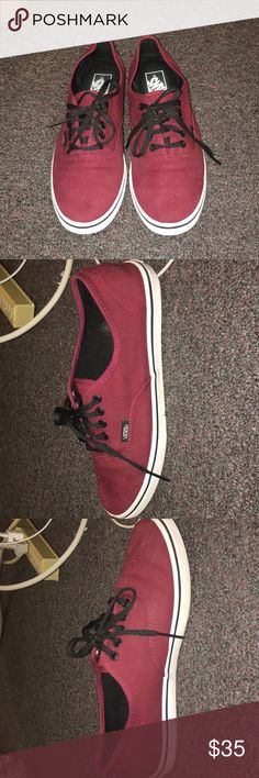 Maroon Vans Authentic Sneaker! barely ever worn maroon vans sneakers. heel is a little warped from storage but other than that perfect condition! Soul is not worn at all Vans Shoes Sneakers