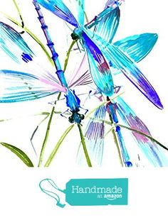"Dragonflies, Original one of a kind watercolor painting, 16"" X 12"", turquoise blue purple wall art from OriginalOnly http://www.amazon.com/dp/B01B0SLQOO/ref=hnd_sw_r_pi_dp_-MbQwb1ACA1MR #handmadeatamazon"