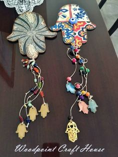 I have some thin tin and I am thinking about cutting to make the Hamsa then use gems and a charm Hamsa to hang down Clay Projects, Clay Crafts, Arts And Crafts, Hamsa Drawing, Moroccan Art, World Crafts, Witch Decor, Ramadan Decorations, Clay Design