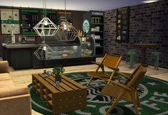 The interior of the newly opened Starbucks in San Myshuno San Myshuno, Outdoor Furniture Sets, Outdoor Decor, Sims 4, Starbucks, Community, The Originals, Interior, Home Decor