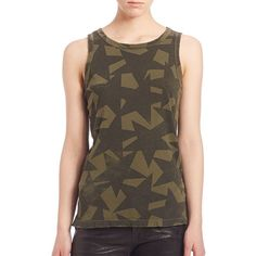 Current/Elliott Cotton Star-Print Muscle Tee ($74) ❤ liked on Polyvore featuring tops, apparel & accessories, army green, brown tank top, brown sleeveless top, brown tops, sleeveless tops and cotton pullovers