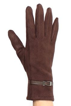 Sweet! Faux suede buckle texting gloves for women