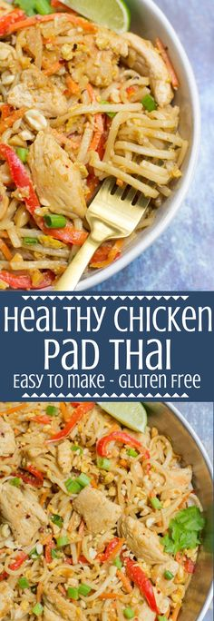 Recipes Gluten Free Skip the takeout tonight and make this Healthy Chicken Pad Thai recipe for dinner instead! This gluten free pad thai recipe is a healthier version of a classic takeout dish, packed with veggies, chicken and brown rice noodles. Healthy Pad Thai, Healthy Chicken, Chicken Recipes, Thai Chicken, Sesame Chicken, Gluten Free Recipes For Dinner, Healthy Dinner Recipes, Easy Gluten Free Meals, Gluten Free Chinese Food