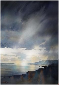 Where the Mountains Sweep Down to the Sea - Mountains of Mourne by Thomas W. Schaller Watercolor ~ 24 inches x 18 inches