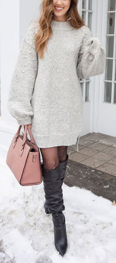 PEARL SWEATER DRESS LOVE! This pearl grey sweater dress is on sale and these slouchy leather boots are on sale too! Super warm, soft, and affordable winter outfit. #fashion #fashionblogger #sweaterdress by Marie's Bazaar