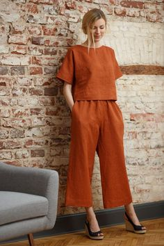 Linen culottes ANNA, Wide leg pants, High waist linen pants, Redwood linen pants, Handmade by LinaKraun Look Fashion, Fashion Outfits, Womens Fashion, Fashion Tips, Fashion Design, 70s Fashion, Modest Fashion, Winter Fashion, Linen Blouse